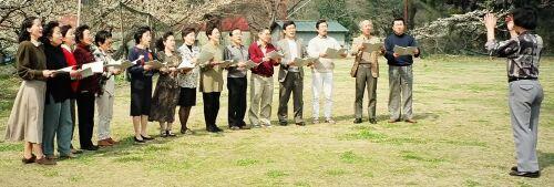さつき合唱団の合宿練習風景